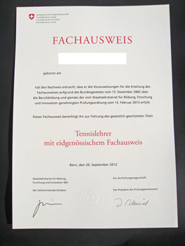 eidg. fachausweis / brevet fédéral